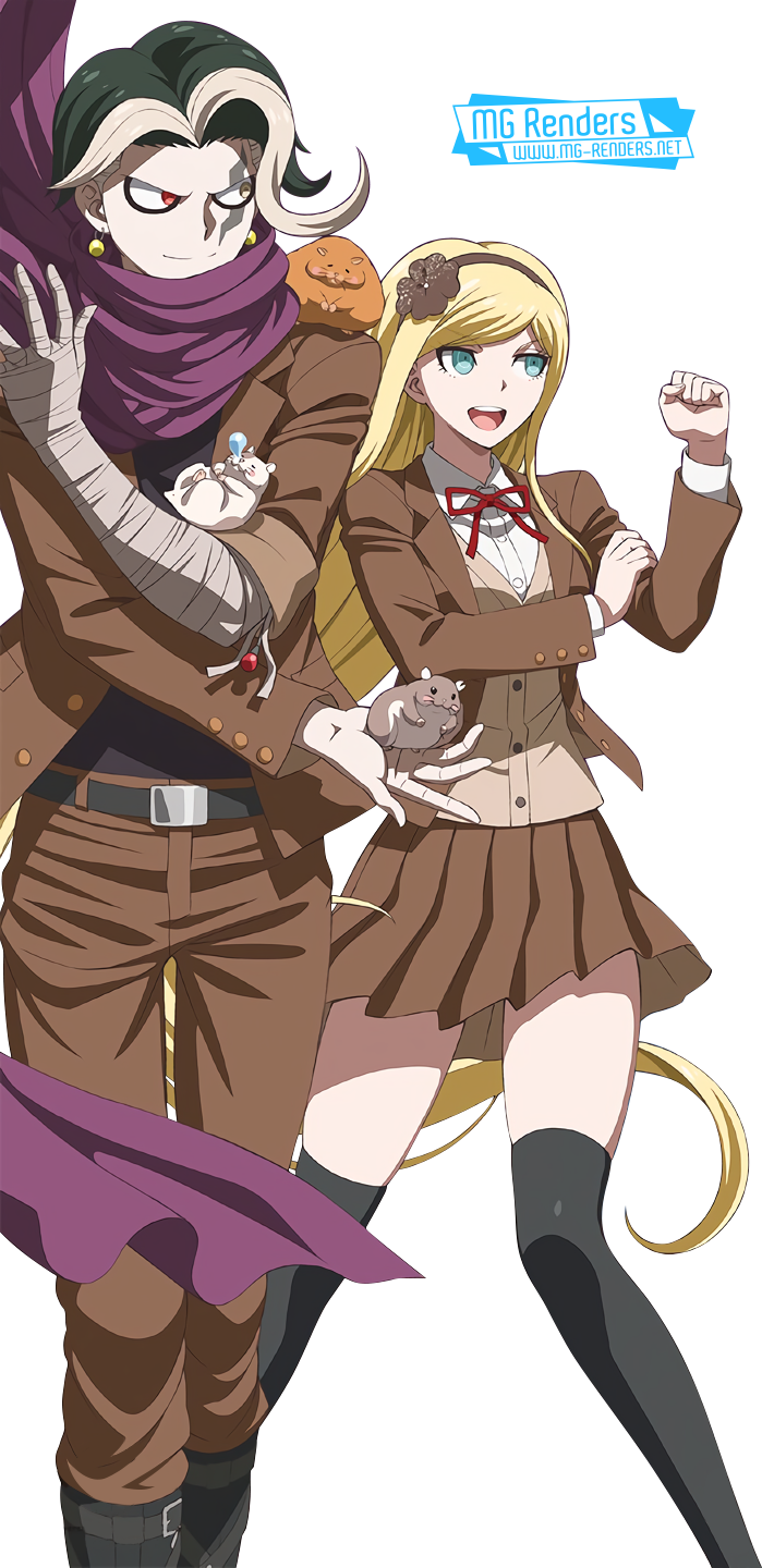 Tags: Anime, Render,  Danganronpa 3,  Skirt,  Sonia Nevermind,  Tanaka Gundham,  PNG, Image, Picture