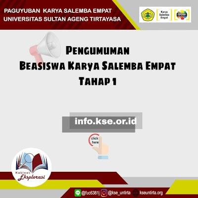 Informasi Penerimaan Beasiswa KSE UNTIRTA 2019/2020