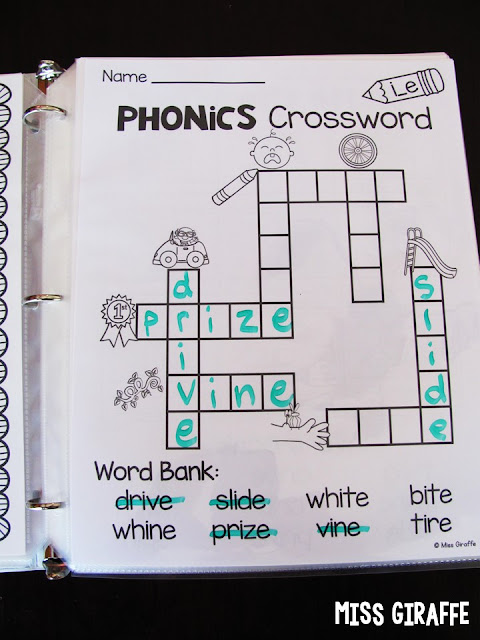 Long i crossword worksheet puzzle that kids love to practice phonics sounds - these are one of my favorites!