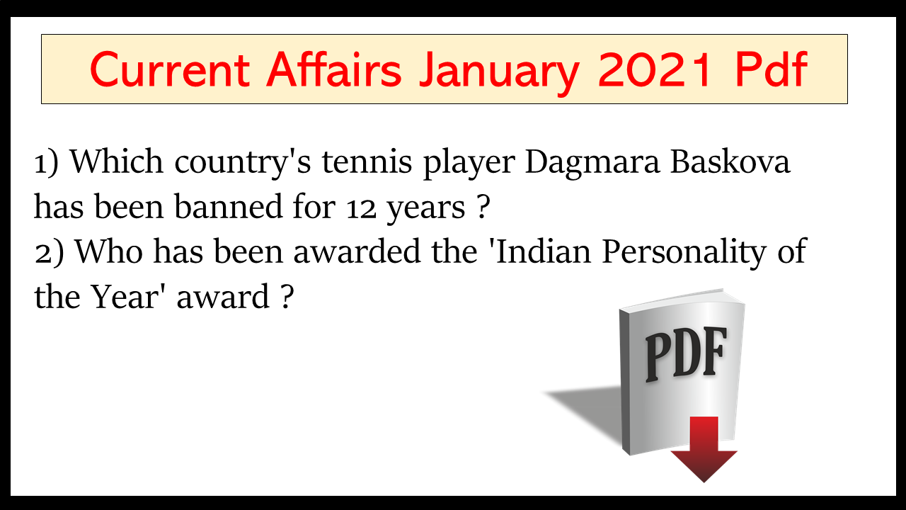 Current Affairs January 2021 in English