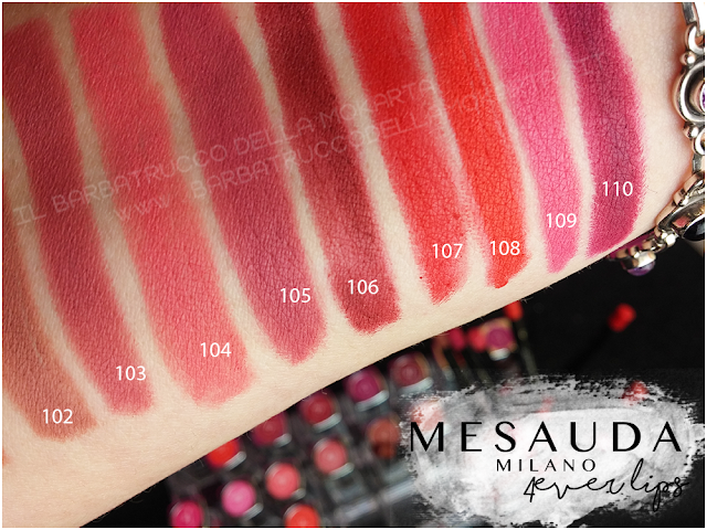 swatches  lipliner matite labbra mesauda 4ever lips review