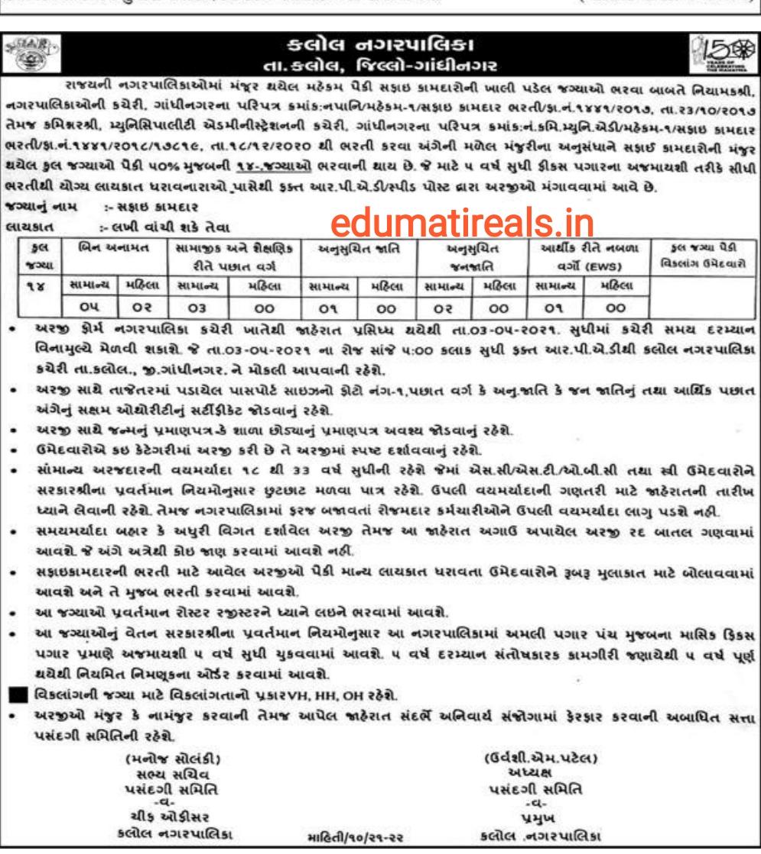 Kalol Nagarpalika Recruitment