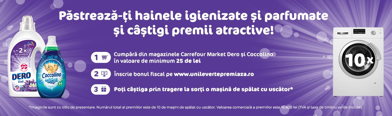 Concurs Carrefour Market - Pastreaza-ti hainele igienizate si parfumate si castigi premii atractive cu DERO si Coccolino - castiga.net - masina de spalat