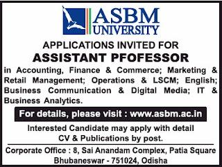 Bhubaneswar, ASBM University Assistant Professor Faculty Jobs 2020