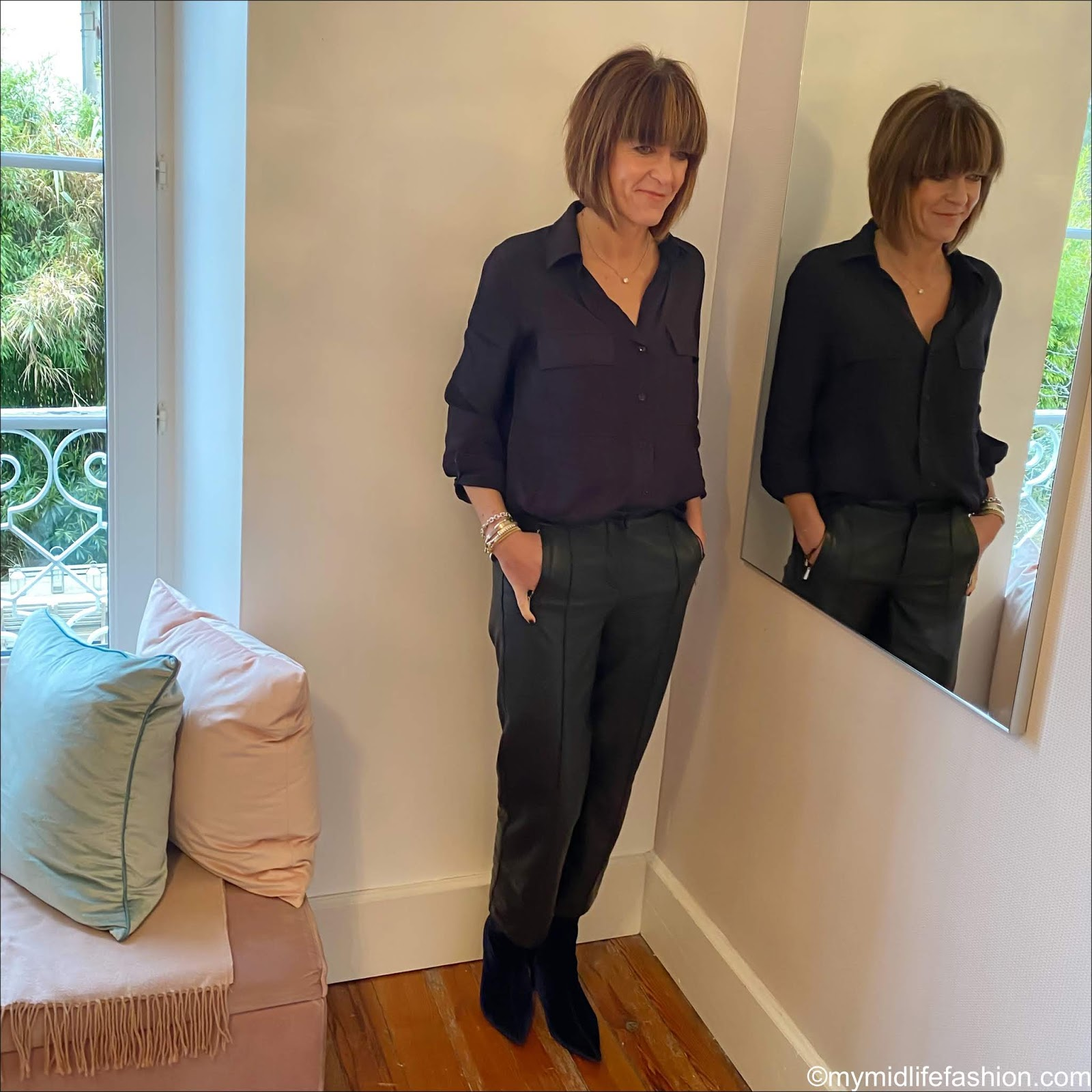 my midlife fashion, Massimo Dutti utility shirt, marks and Spencer leather cropped straight leg trousers