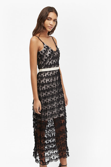 french connection black tassel dress,