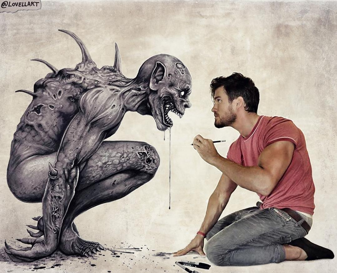 08-Face-to-face-with-his-art-Christopher-Lovell-Character-Drawings-Portraits-and-Monsters-www-designstack-co