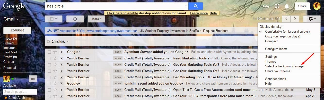 How To Change the backgroung image of your Gmail inbox to your own Picture (TUTORIAL)