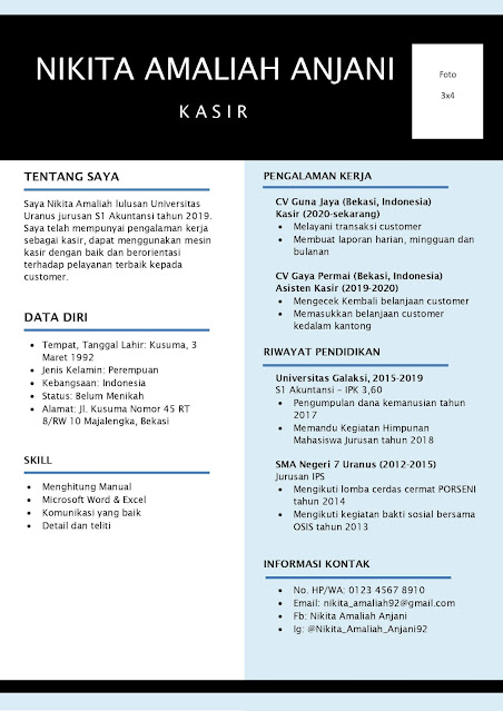 Contoh Curriculum Vitae (CV) Untuk Kasir