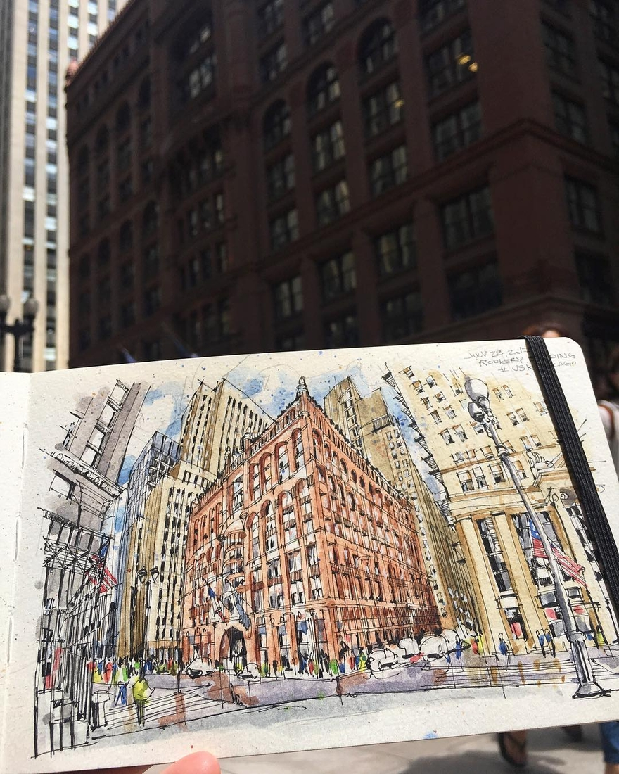12-Sketching-on-La-Salle-Street-Josiah-Hanchett-Urban-Sketcher-taking-in-the-views-and-Drawing-them-www-designstack-co