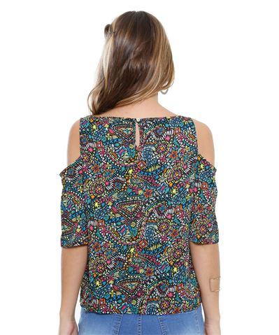 Moda Blusa Open Shoulder Crepe