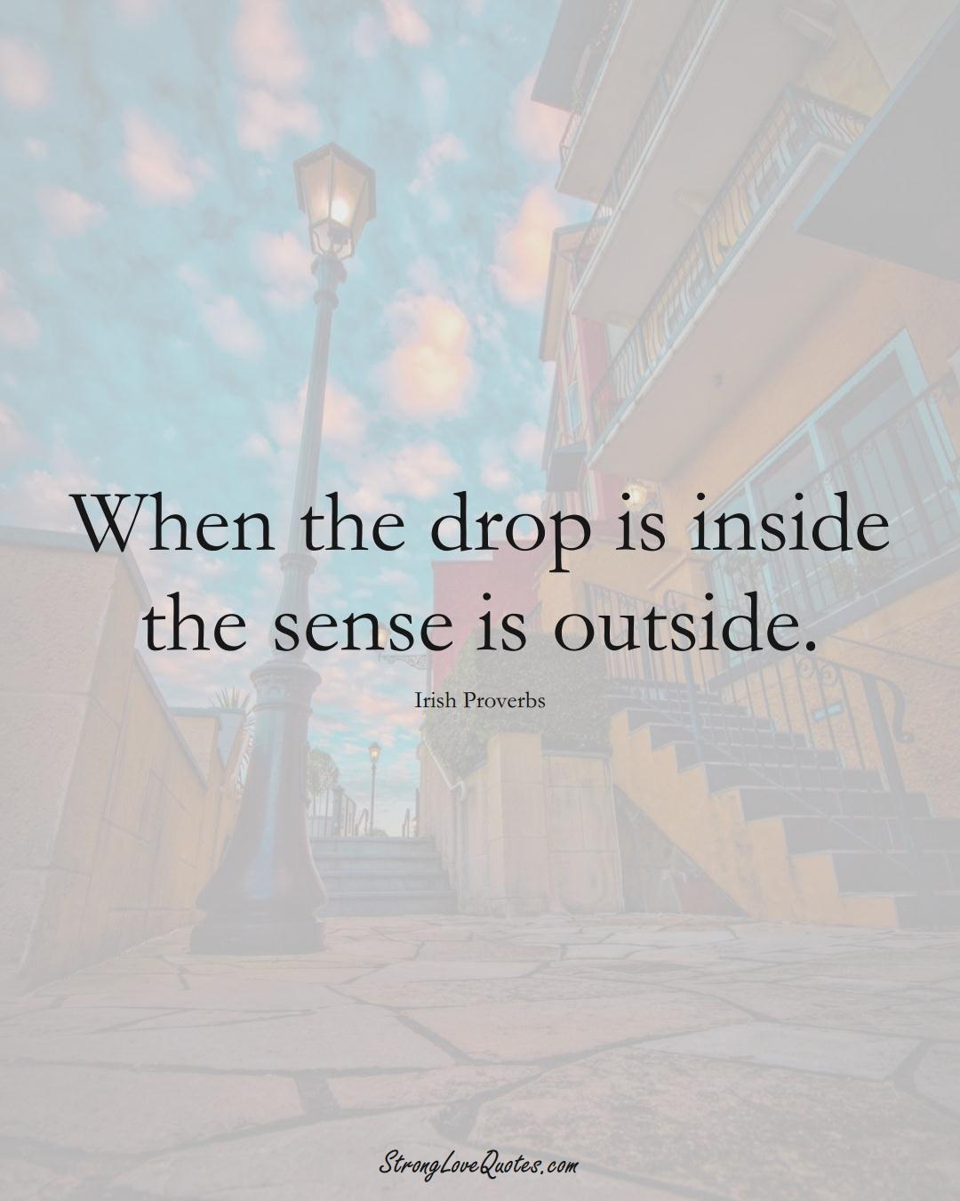 When the drop is inside the sense is outside. (Irish Sayings);  #EuropeanSayings