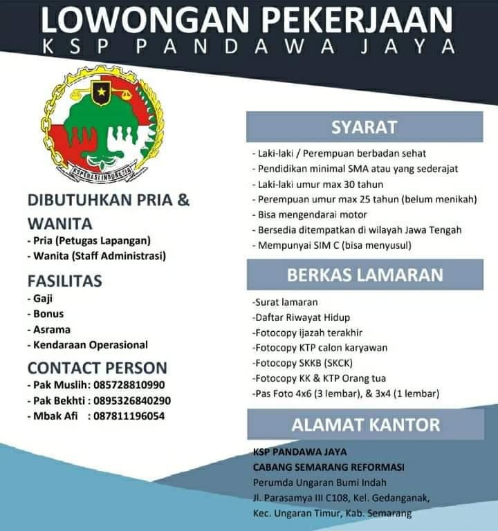 Lowongan Kerja Staff Administrasi & Petugas Lapangan KSP Pandawa Semarang