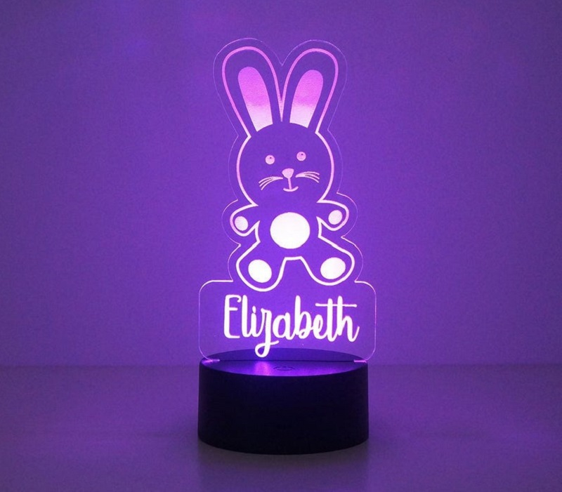 personalised bunny night light for kids