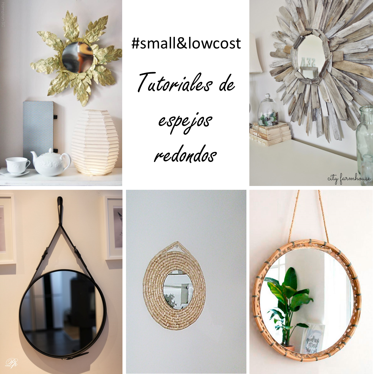Small lowcost 5 tutoriales para espejos redondos for Espejos redondos para decorar