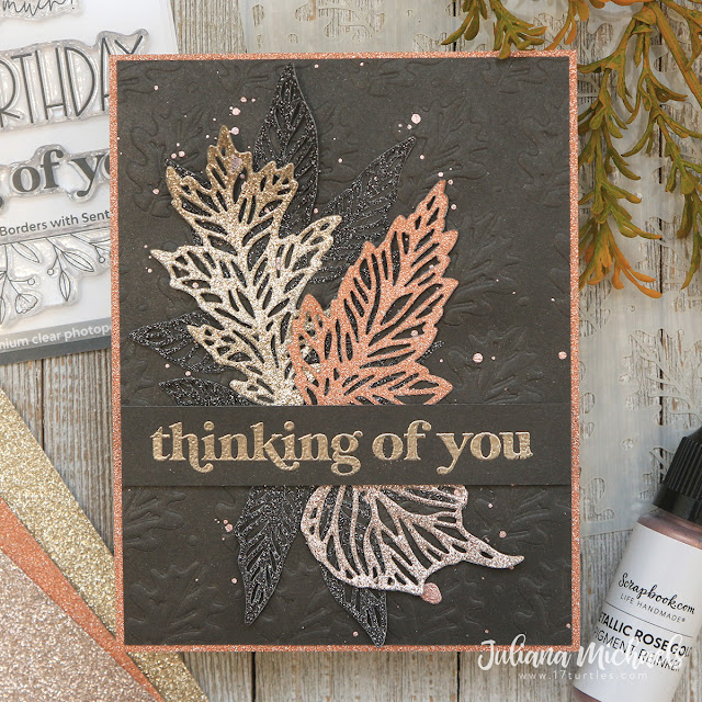 Thinking of You Card by Juliana Michaels featuring Scrapbook.com Oak Leaves Stencil and Dry Embossing