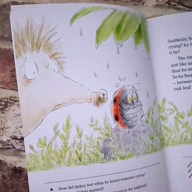 The book open showing a hedgehog meeting a ladybird