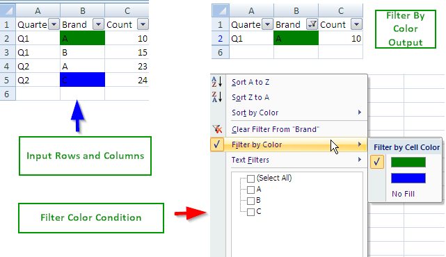 Excel Auto Filter Cell Color - POI Java Example | ThinkTibits!