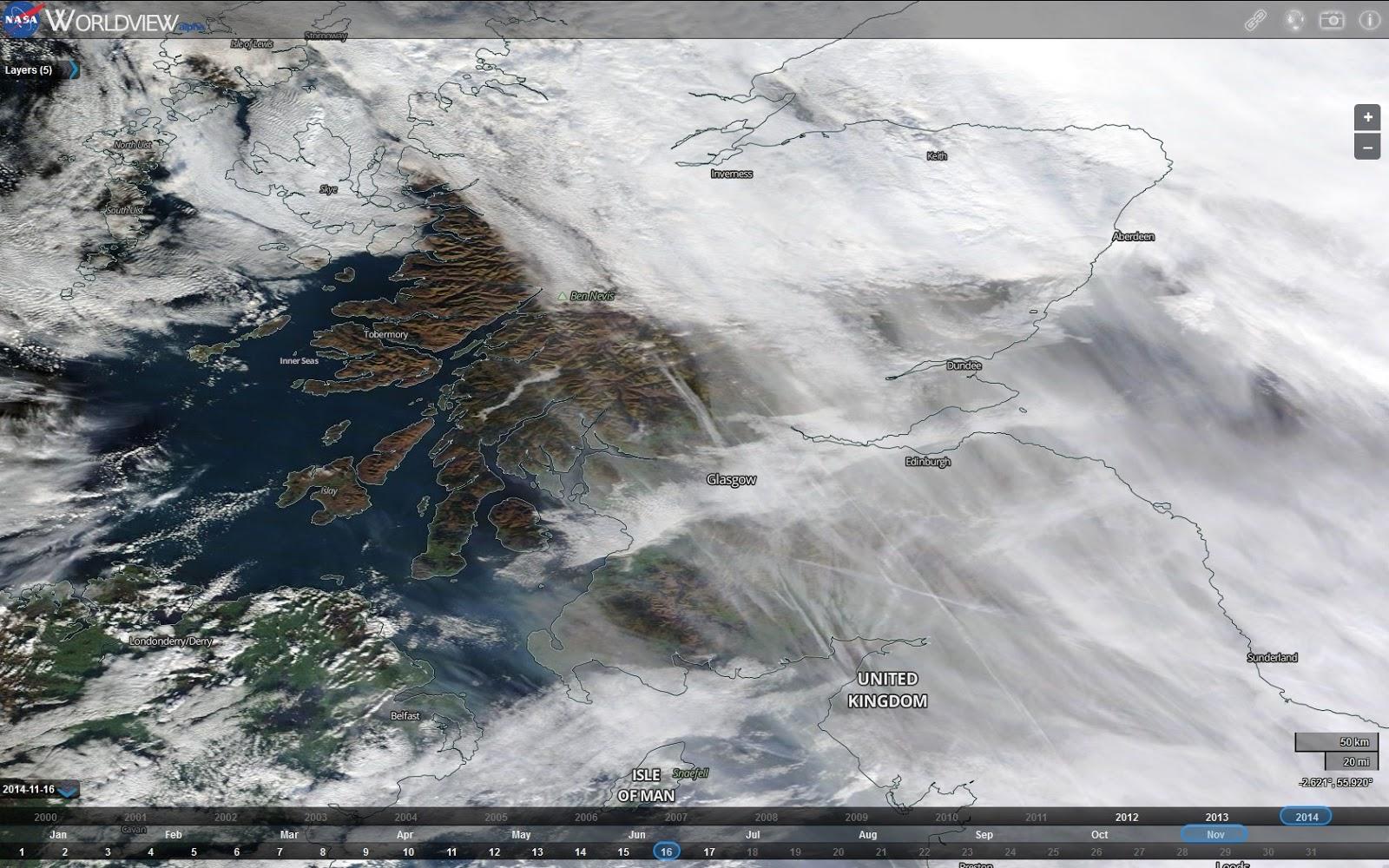 Scottish Chemtrails: NASA Worldview