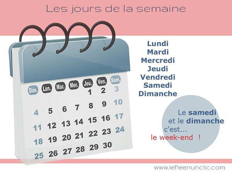 Vocabulaire : les jours de la semaine en français