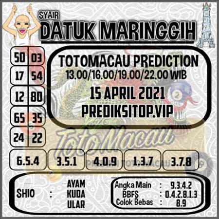 Syair Top Datuk Maringgih Toto Macau Kamis 15 April 2021