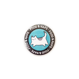 food and naps cat badge