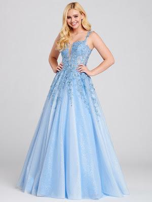 Ellie Wilde Plugging- v-neck periwinkle color prom dress