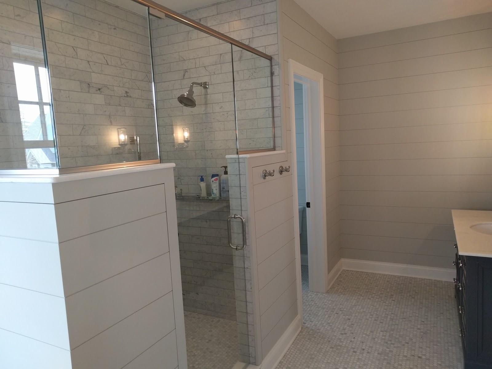 shiplap in the master bathroom. Black Bedroom Furniture Sets. Home Design Ideas