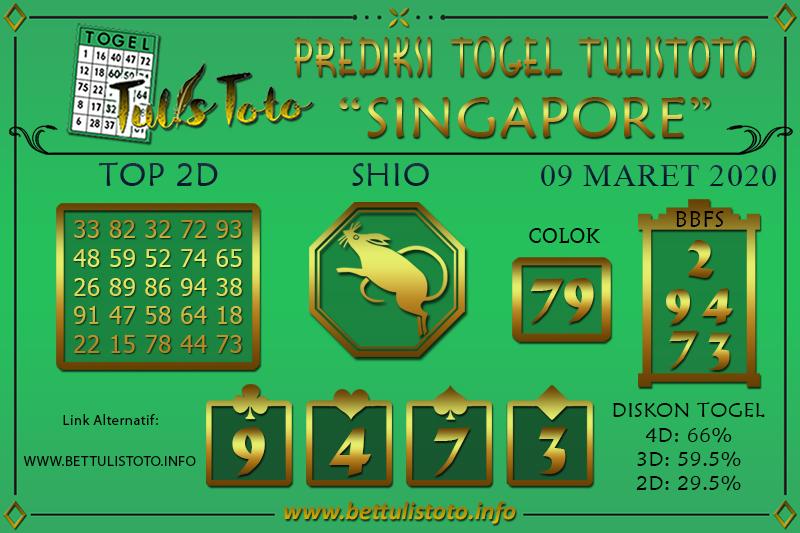 Prediksi Togel SINGAPORE TULISTOTO 09 MARET 2020