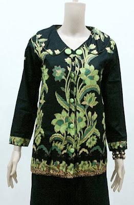 Model Baju Batik Kerja Guru Lengan Panjang Modern