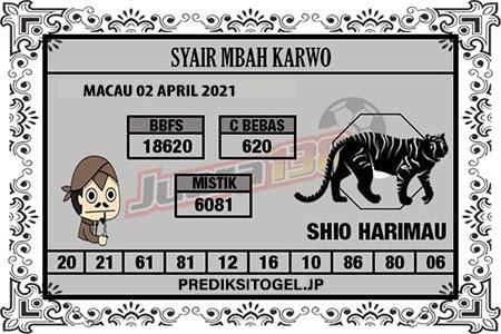 Syair Mbah Karwo Togel Macau Jumat 02 April 2021