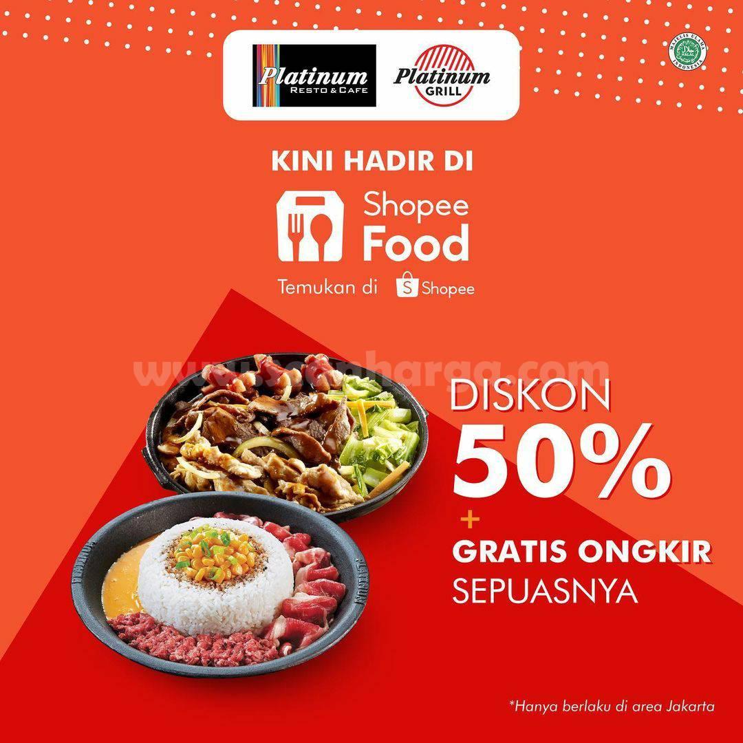 Platinum Resto Promo Diskon 50% + Gratis Ongkir via ShopeeFood