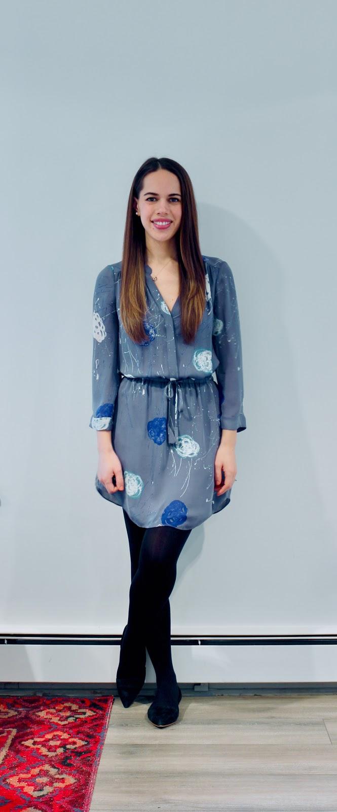 Jules in Flats - Aritzia Babaton Bennett Silk Shirt Dress (Business Casual Winter Workwear on a Budget)