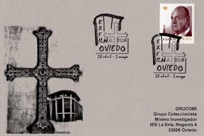 filatelia, matasellos, exfilna, Oviedo, tarjeta, auditorio, Cruz de la Victoria