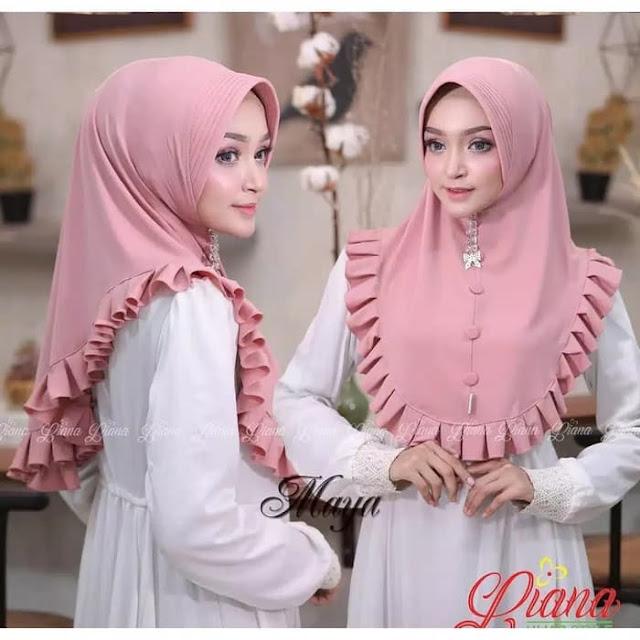 Jilbab Khimar Terbaru (Khimar Maya Bergo Instan) Pink