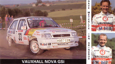 Image of a Vauxhall Nova GSi rally car from a promotional post card