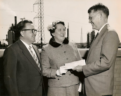 Sophie Dixon accepts the first place award in the Esso Bayway safety contest. 15 Apr 1959. Esso/Bayway Refinery Photo. E. Ackemann, 2015.