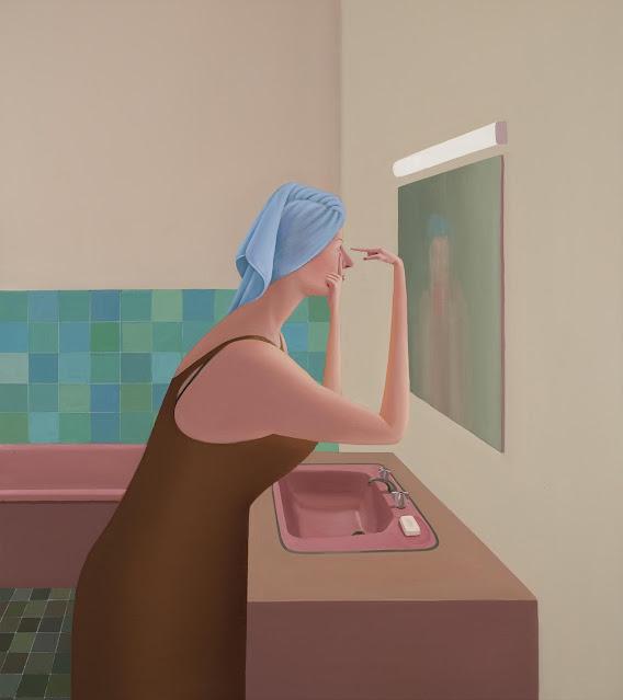 Prudence Flint, pinturas, imagenes de soledad femenina bonitas, chidas de arte inspirador, mujer al espejo,