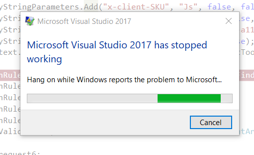 SDET Blog in Seattle: Fixed the Visual Studio 2017 IDE Error when