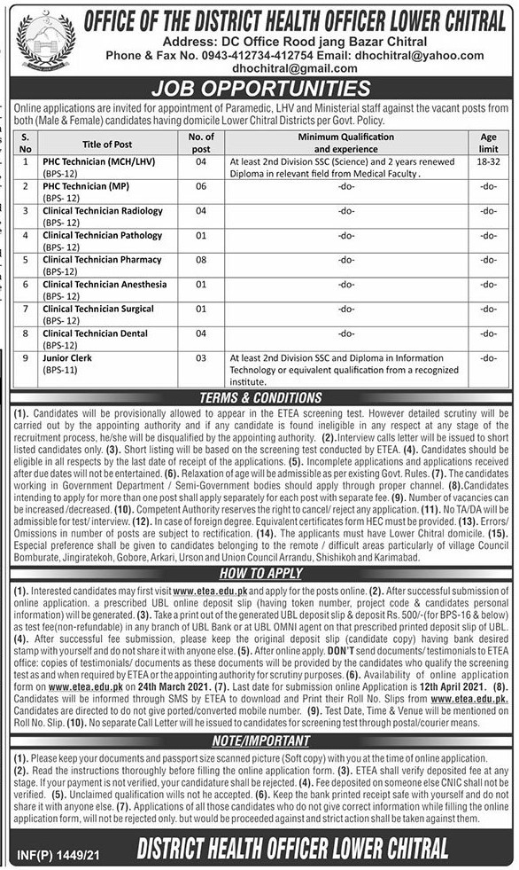 KPK Health Department District Chitral Jobs 2021 in Pakistan