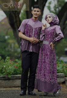 Model baju batik muslim couple motif awan