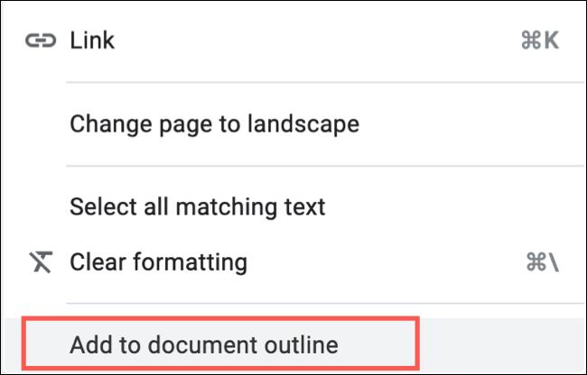 انقر بزر الماوس الأيمن واختر Add To Document Outline