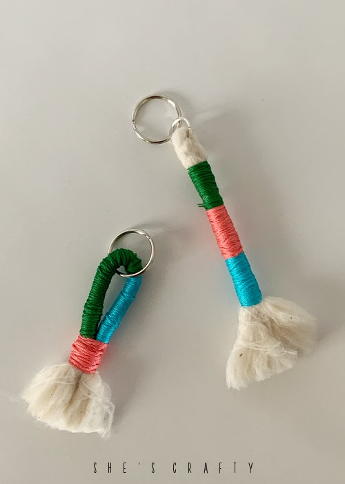 DIY Floss Wrapped Keychains