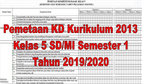 Pemetaan KD Kurikulum 2013 Kelas 5 SD/MI Semester 1 Tahun 2019/2020 - Homesdku