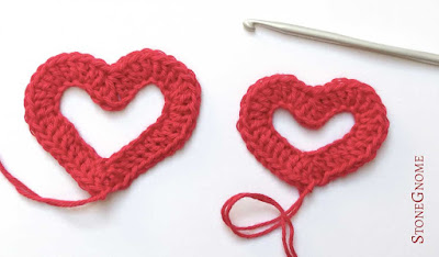 Two crocheted hearts