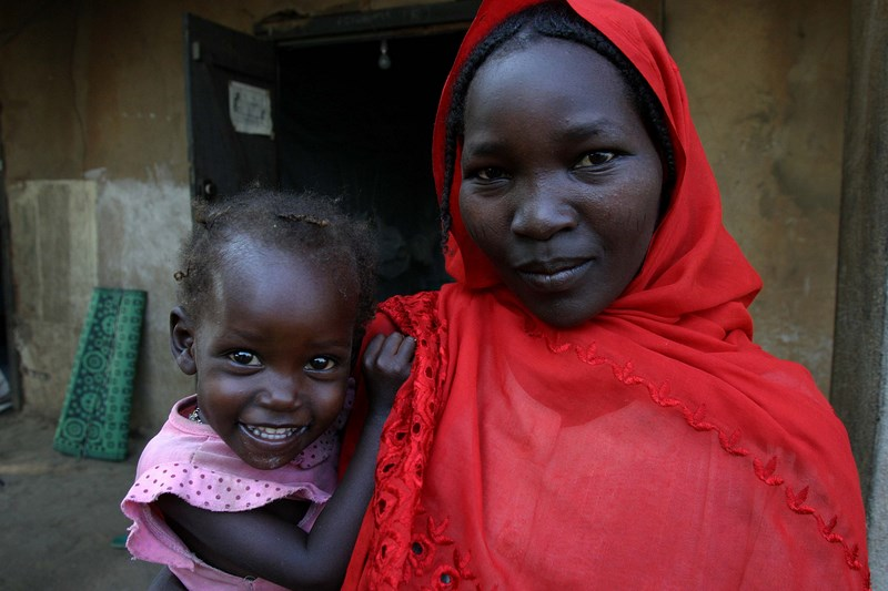 Mother and child in Khartoum which is the capital and second largest city of Sudan and Khartoum state.