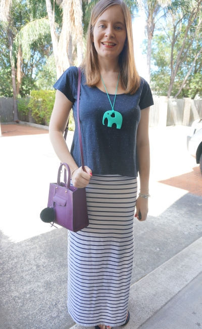 navy marle tee white striped maxi skirt purple mini MAB tote cross body bag | AwayFromBlue Blog