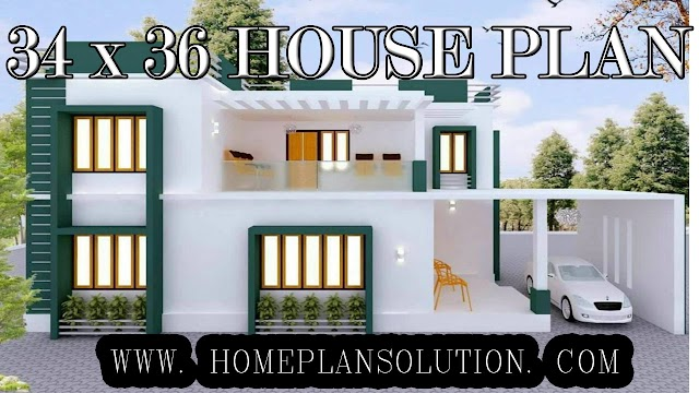 34 x 36 HOUSE PLAN DESIGN | 3D ELEVATION | HOUSE ELEVATION