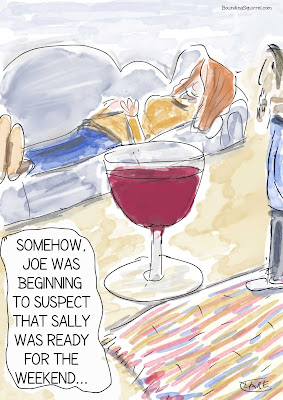 In this cartoon, a woman lies on a sofa next to a gigantic glass of wine.