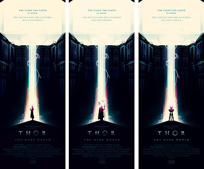 Thor The Dark World Screen Print by Olly Moss - Loki, Odin & Heimdall